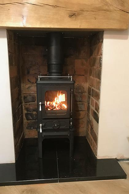 Wood burning stove installation in Walsall